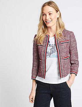 Cotton Rich Contrast Trim Textured Blazer, RED MIX, catlanding