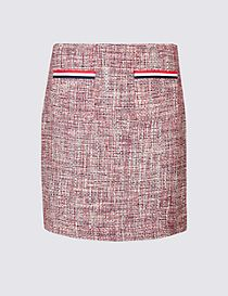Contrast Trim Patch Pocket Pencil Mini Skirt