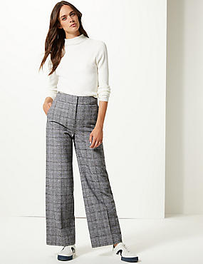 Checked Wide Leg Trousers  , BLUE MIX, catlanding