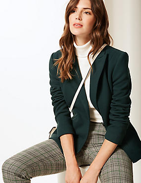 Single Breasted Blazer , PINE GREEN, catlanding