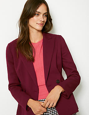 Single Breasted Blazer , DARK CLARET, catlanding