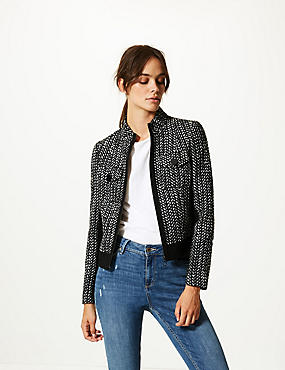 Wool Blend Textured Blazer , BLACK MIX, catlanding
