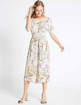 Floral Print Culottes Jumpsuit with Belt