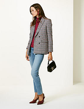 Gingham Double Breasted Blazer, PINK MIX, catlanding