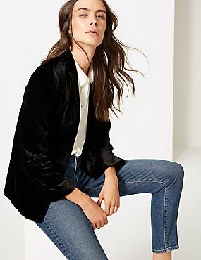 Textured Velvet Blazer , BLACK, catlanding