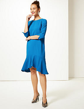 Crepe Fishtail 3/4 Sleeve Swing Dress, DARK TURQUOISE, catlanding