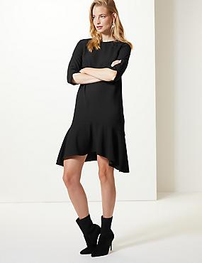 Crepe Fishtail 3/4 Sleeve Swing Dress, BLACK, catlanding