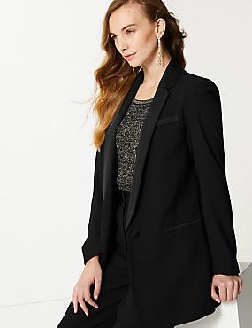 Tuxedo Style Longline Blazer, BLACK, catlanding
