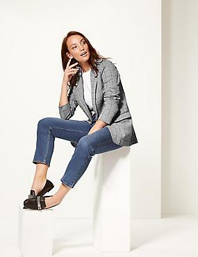 Cotton Blend Checked Jersey Blazer , BLACK MIX, catlanding