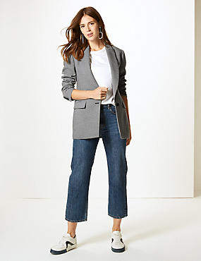 Checked Long Sleeve Blazer, BLUE MIX, catlanding