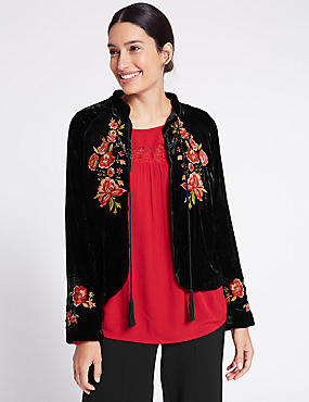 Drawstring Floral Embroidered Jacket