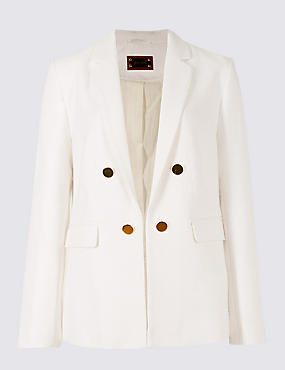 Cotton Blend Textured Button Detail Blazer