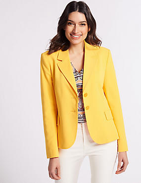 Single Breasted Blazer , YELLOW, catlanding