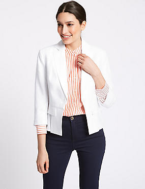 Pure Linen Single Breasted Blazer, SOFT WHITE, catlanding