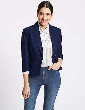 Pure Linen Single Breasted Blazer, DARK MIDNIGHT, catlanding