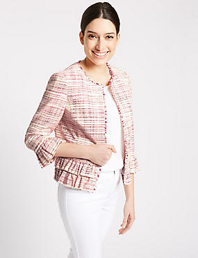 Cotton Blend Textured Ruffle Blazer, PINK MIX, catlanding
