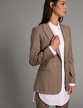 Wool Blend Checked Jacket