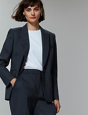 Single Breasted Blazer , NAVY, catlanding