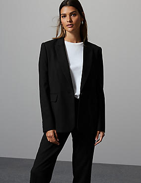 Smart Single Breasted Blazer, BLACK, catlanding