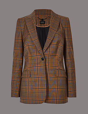 Wool Blend Checked Single Breasted Blazer , BROWN MIX, catlanding