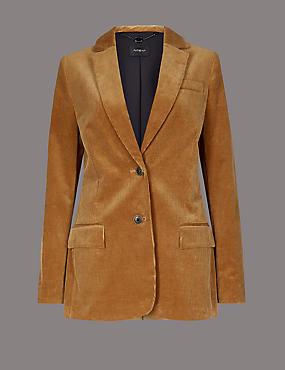 Cotton Rich Textured Corduroy Blazer, COGNAC, catlanding