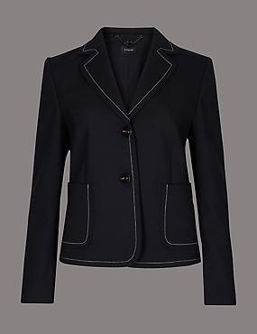 Contrast Stitch Long Sleeve Blazer, NAVY, catlanding