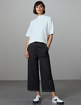 Wide Leg Cropped Trousers, NAVY, catlanding