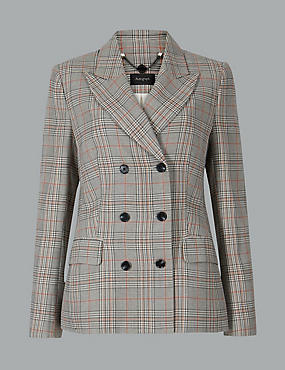 Oversized Checked Double Breasted Blazer, BLACK MIX, catlanding