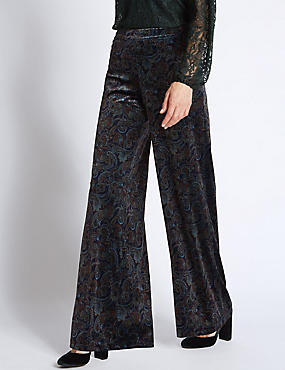 Paisley Print Wide Leg Trousers