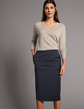 Wool Blend Pencil Midi Skirt