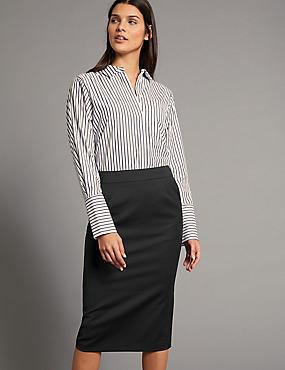 Wool Blend Pencil Midi Skirt , BLACK, catlanding