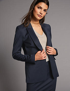 Wool Blend Longline Single Breasted Blazer, NAVY, catlanding