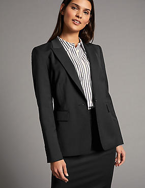Wool Blend Longline Single Breasted Blazer
