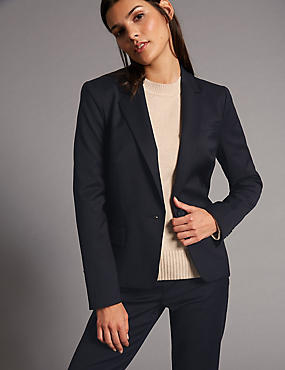Wool Blend Single Breasted Blazer, NAVY, catlanding