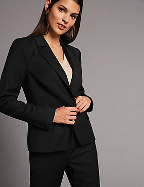 Wool Blend Single Breasted Blazer, BLACK, catlanding