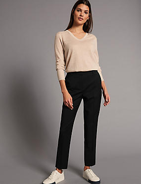 Wool Blend Cropped Trousers