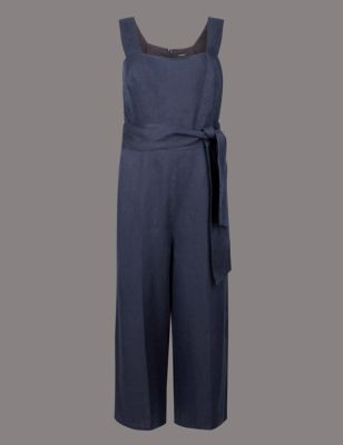 Pure Linen Cropped Jumpsuit by Marks & Spencer