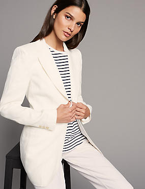 Pure Linen Single Breasted Blazer , SOFT WHITE, catlanding