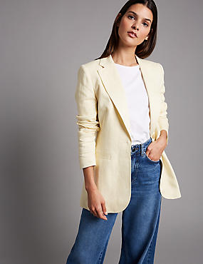 Pure Linen Single Breasted Blazer , PALE YELLOW, catlanding