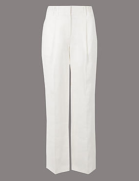 Pure Linen Wide Leg Trousers, SOFT WHITE, catlanding
