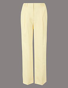 Pure Linen Wide Leg Trousers, PALE YELLOW, catlanding
