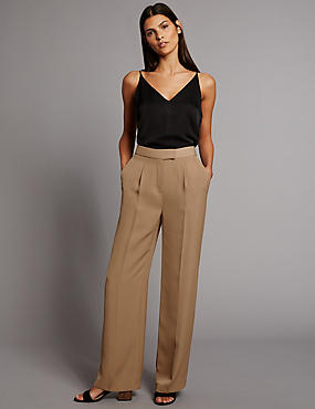 Twill Pleated Wide Leg Trousers
