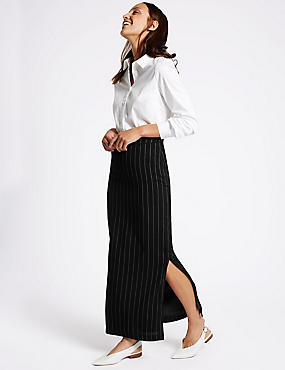 Tailored Fit Striped Long Skirt