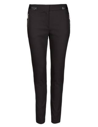 Faux Leather Trim Trousers Clothing