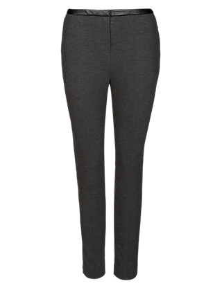 Faux Leather Trim Ponte Treggings Clothing
