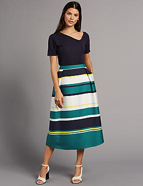 Wide Stripe A-Line Midi Skirt