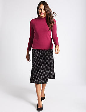 Spotted Flock A-Line Midi Skirt
