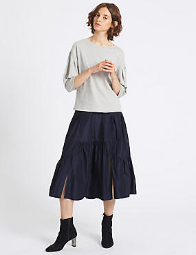 Cut About A-Line Midi Skirt