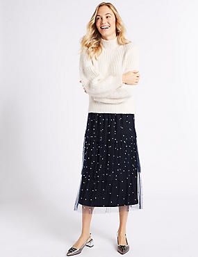 Tiered Mesh Pearl A-Line Midi Skirt