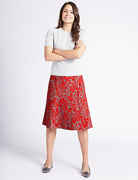 Floral Print A-Line Midi Skirt, RED MIX, catlanding